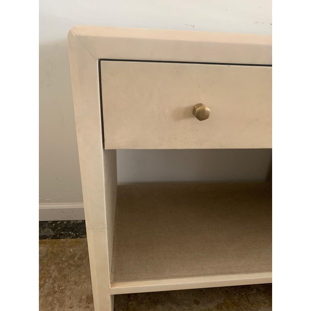 Polished Faux Vellum Nightstands From Made Goods - a Pair For Sale - Image 10 of 13