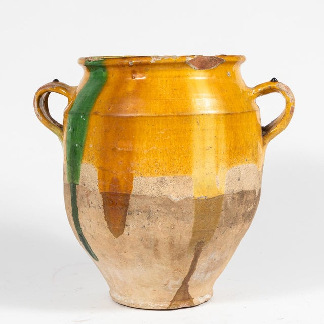 Yellow Glazed Confit Pot With Green Markings and Handles For Sale - Image 4 of 6