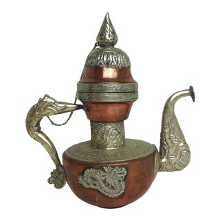Antique Copper and Brass Teapot With Dragon Embellishment For Sale