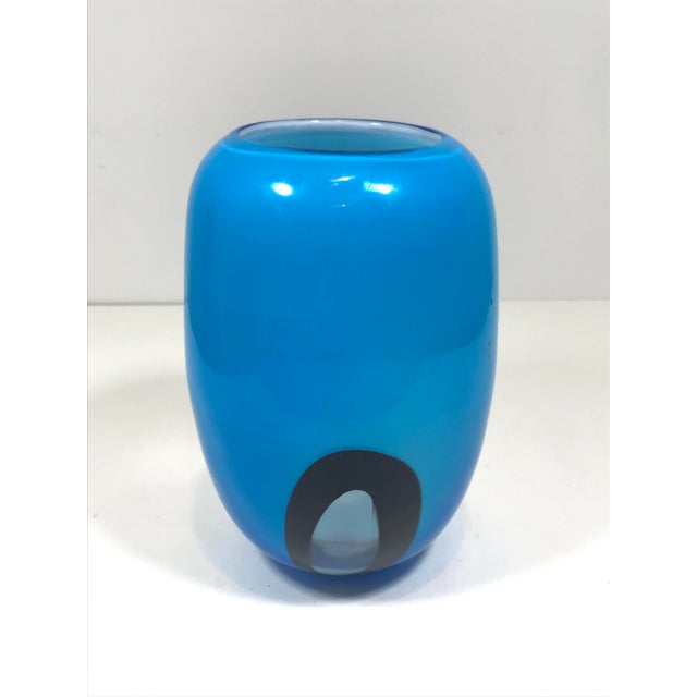 Blue Murano Art Glass Vase For Sale - Image 8 of 8