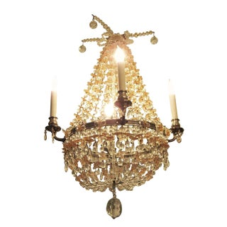 Pink & Clear Beaded Glass Basket Chandelier