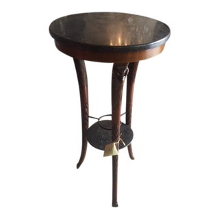 1920's Vintage Marble Topped English Pedestal For Sale