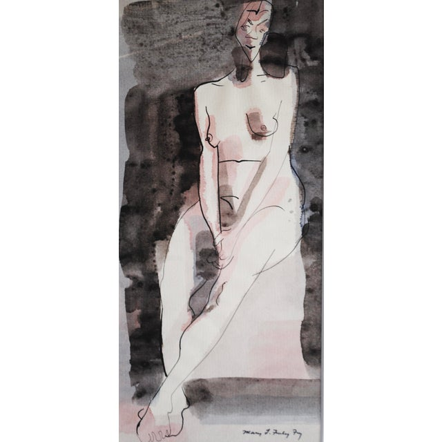 Vintage Figurative Watercolor by Mary Finley Fry - Image 4 of 6