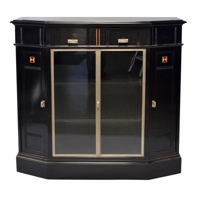 Art Deco Ebonized Cabinet With Aluminum Trim and Glass Doors For Sale