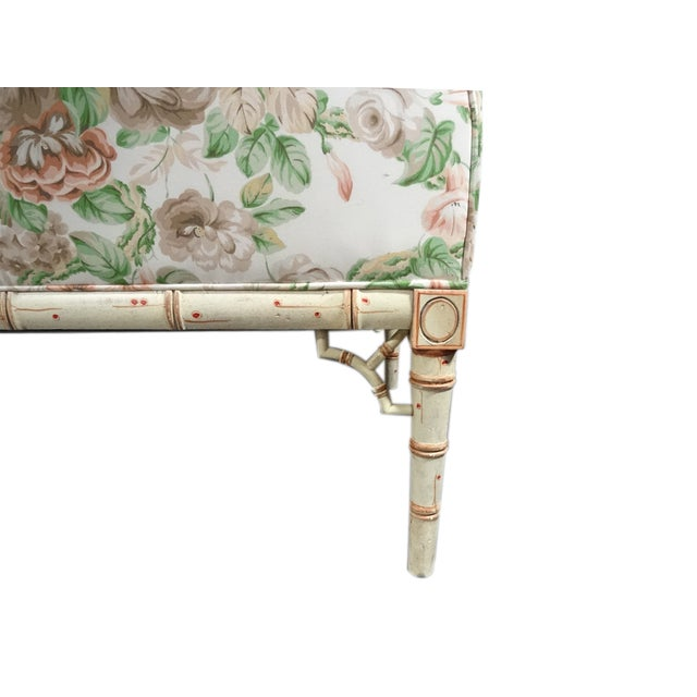Hickory Chair Co. Floral Camel Back Bamboo Sofa - Image 7 of 11