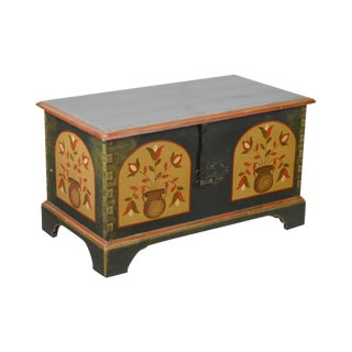 Pennsylvania Dutch Style Hand Crafted Pine Painted Blanket Chest For Sale