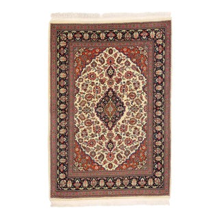 Vintage Persian Qum Silk Rug with Traditional Style For Sale