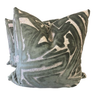 "Sage Green Graffiti Cut Velvet 22"" Pillows-A Pair For Sale"