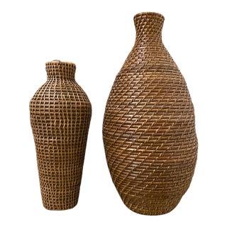 1970s Vintage Vase Shaped Baskets - a Pair For Sale