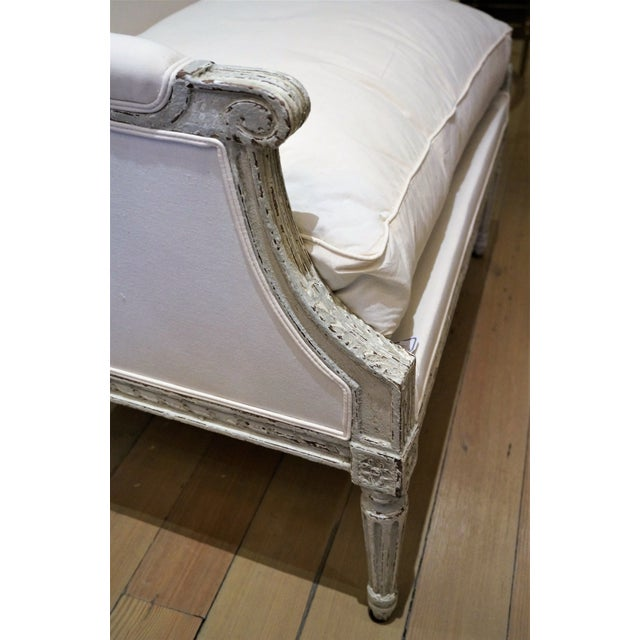 Gray Pair of Marquis 19th C Louis XVI Bergeres For Sale - Image 8 of 12