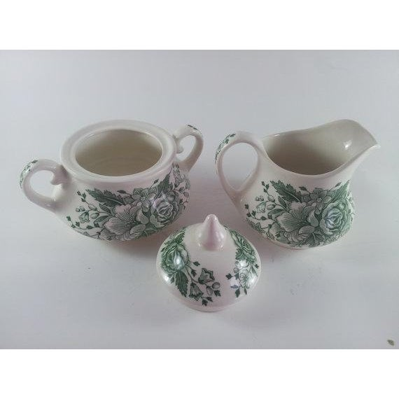 English English Ironstone Floral Cream and Covered Sugar For Sale - Image 3 of 5