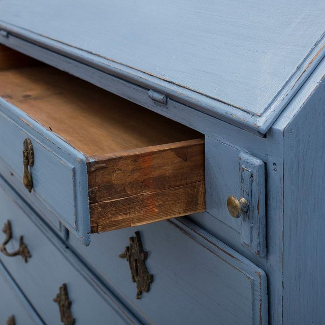 Swedish 19th Century Pale Blue Birch Secretary Desk For Sale - Image 9 of 10