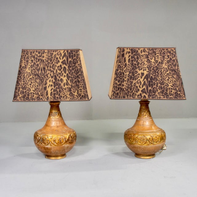 Mid-Century Italian Terra Cotta Lamps With Leopard Print Shades - a Pair For Sale - Image 9 of 9