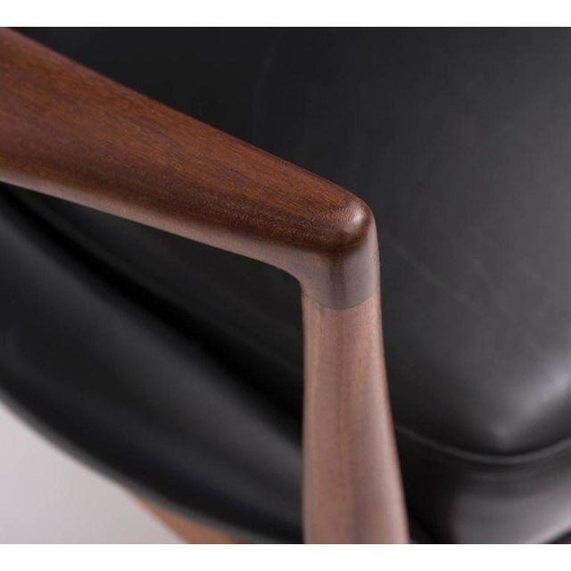 Ib Kofod-Larsen High Back Seal Chair in Teak and Black Leather for OPE, 1960s - Image 6 of 10