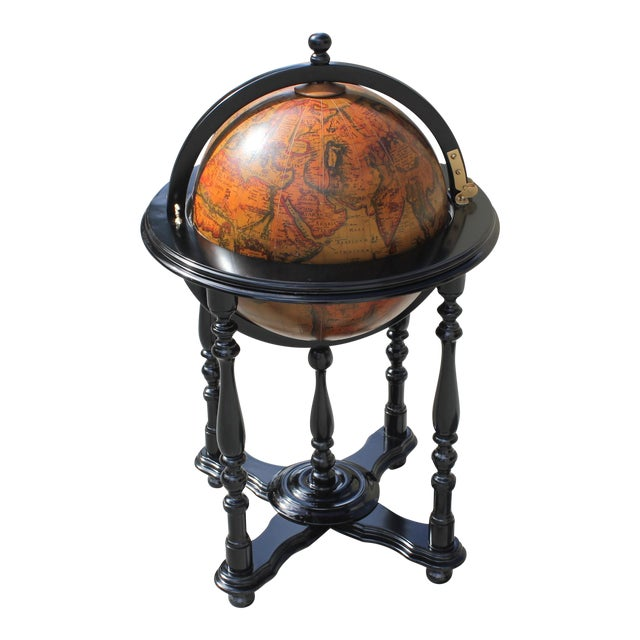 French Mid-Century Solid Mahogany World Globe Bar - Image 1 of 11