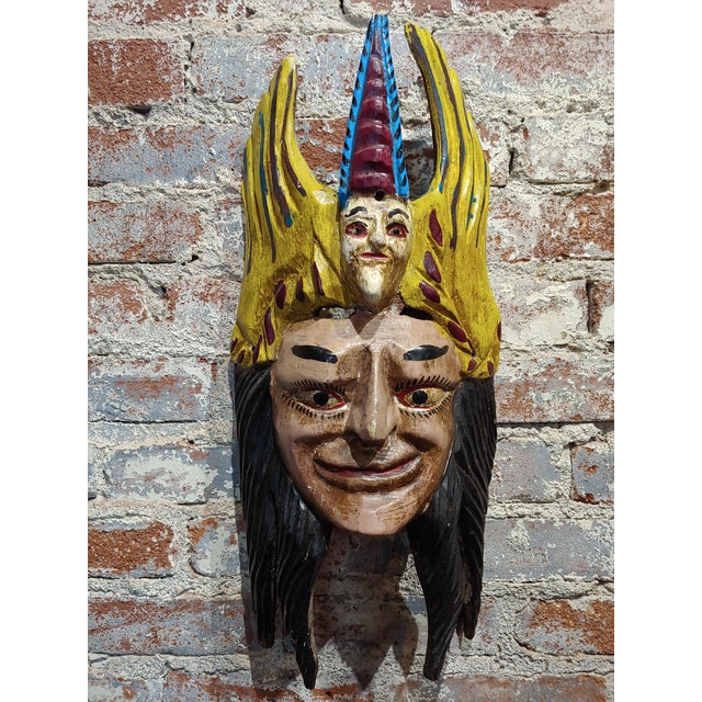 American Mexican Mask -Antique Painted Wood Carved For Sale - Image 3 of 9