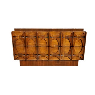 1960s Brutalist Walnut Low Dresser For Sale