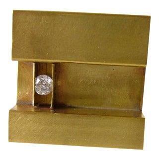 Heidi Abrahamson Cubic Zirconia Sterling Silver Brass Minimalist Ring For Sale