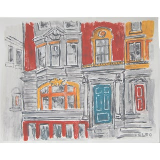 Victorian Row House Architecture Painting by Cleo Plowden For Sale