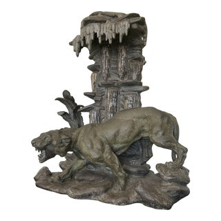 Early 20th Century Art Deco Pewter and Glass Panther Lamp For Sale