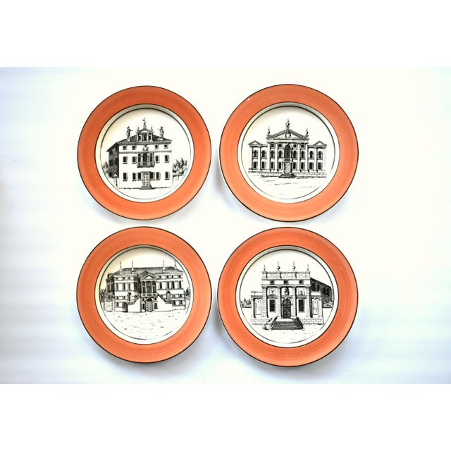 French Vintage Italian Mottahedeh Creil Creamware Neoclassical Palazzo Architecture Small Plates With Coral Border - Set of 4 For Sale - Image 3 of 11