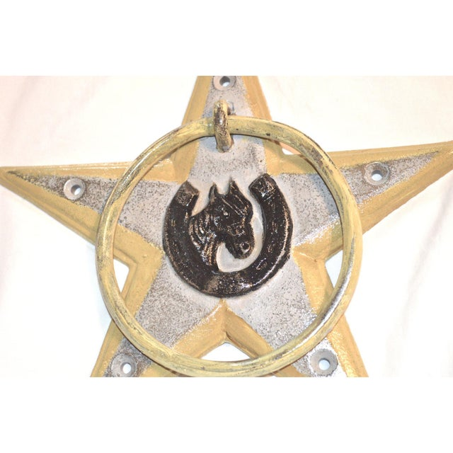 Horsehoe and Star Iron Door Knocker For Sale - Image 9 of 11