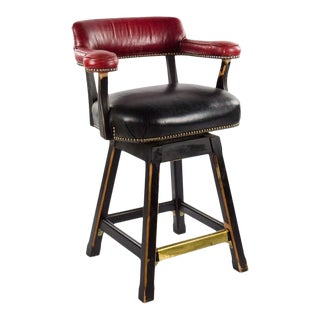 1990s Vintage Old Hickory Faux Leather Tannery Bar Stool For Sale