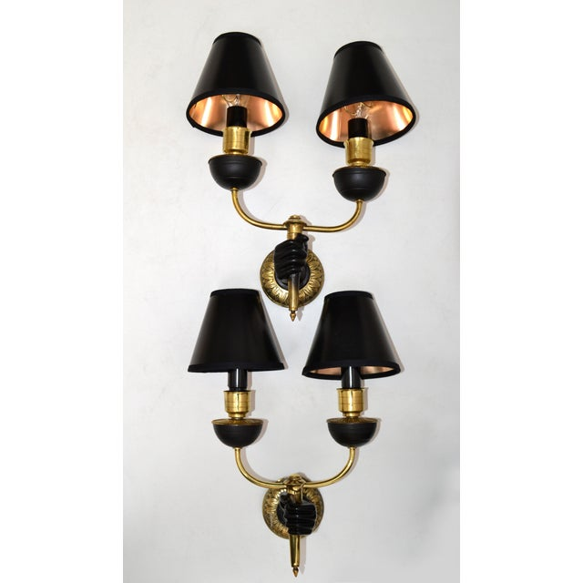 1940s André Arbus Bronze & Black Hand Two-Arm Sconce Wall Light Neoclassical - Pair For Sale - Image 5 of 13