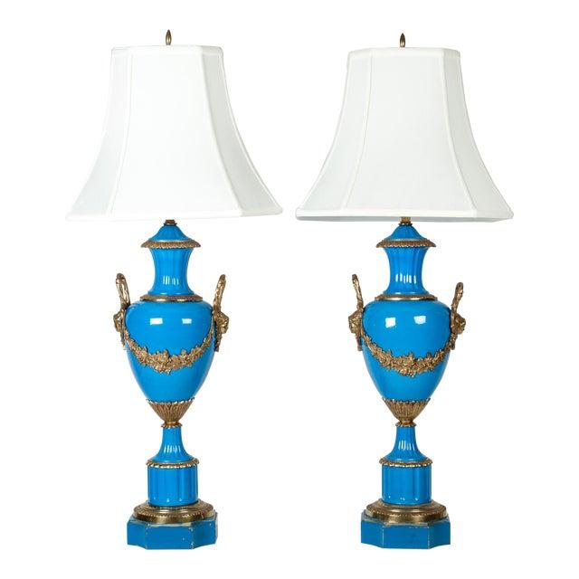 Antique Blue Brass Detail Porcelain Lamps - a Pair For Sale