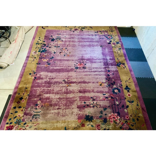 Textile Chinese Art Deco Room Size Rug - 10′2″ × 13′5″ For Sale - Image 7 of 7