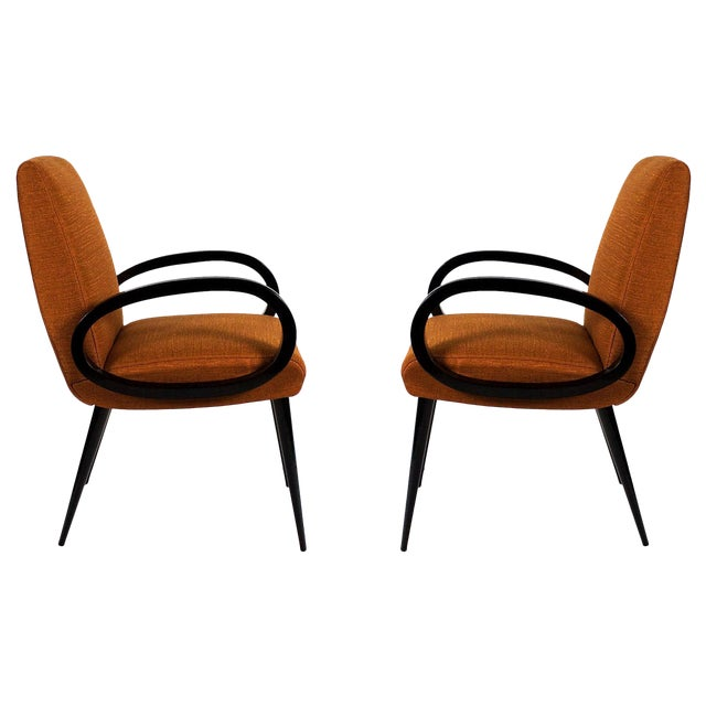 1950s Pair of Bridge Armchairs, Oval Arms, Stained Beech, Fibreguard, France For Sale