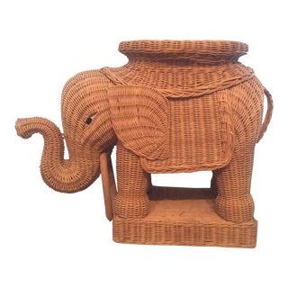 Vintage Wicker Elephant Side Table