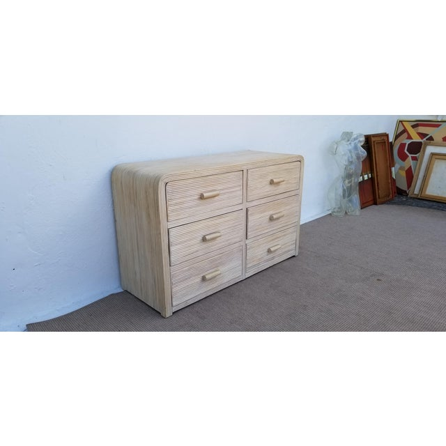1980s Hollywood Regency Pencil Reed Rattan Cabinet For Sale - Image 4 of 13