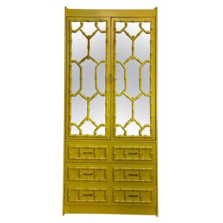 1960's Hollywood Regency Lacquered Faux Bamboo Armoire For Sale