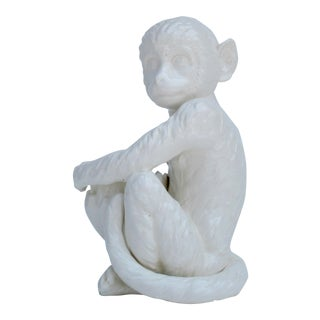 C.1950s Mid-Century Nippon Porcelain Sitting White Monkey With Banana Bowl For Sale