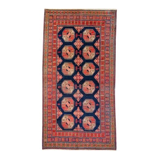 """1920s Antique Khotan Red Brown Wool and Cotton Hand-Knotted Rug - 4'5"""" X 8'5"""" For Sale"""