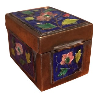 Chinese Enamel and Brass Floral Pill Box