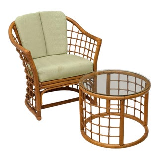 Rattan Lounge Chair and Side Table
