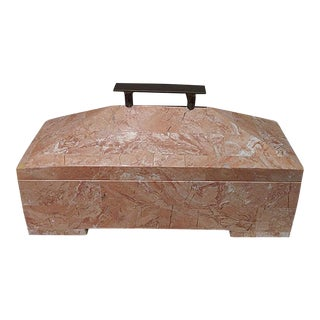 Maitland Smith Tessellated Peach Stone Box For Sale