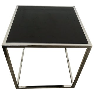 Milo Baughman Thin-Line Chrome and Black Glass Side End or Occasional Table For Sale
