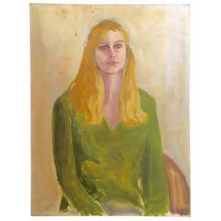 Mid-Century Portrait of a Blond Woman in Green