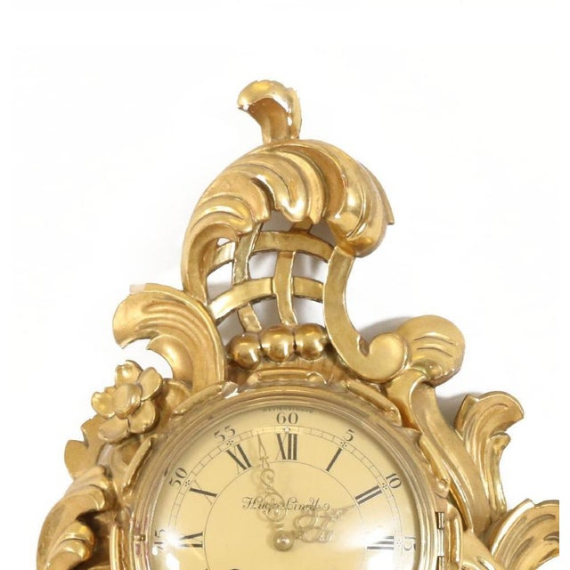 Small Rococo Style Gold Birch Wall Clock For Sale - Image 4 of 5
