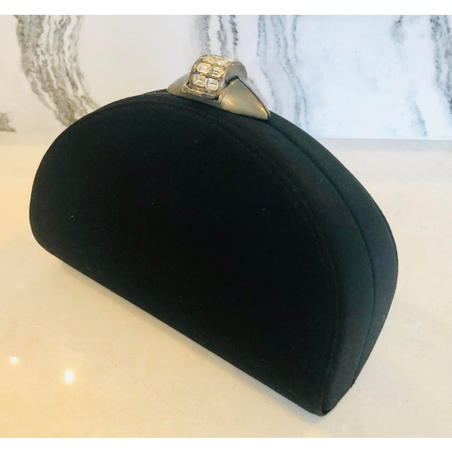 Metal Rodo Black Silk Crystallized Clutch With Gunmetal Hardware For Sale - Image 7 of 11