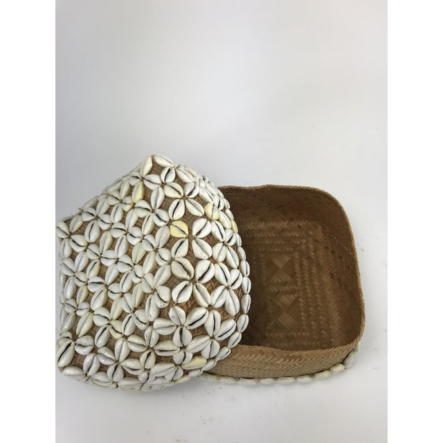 Boho Chic 1970s Vintage Cowrie Shell Covered Baskets - A Pair For Sale - Image 3 of 10
