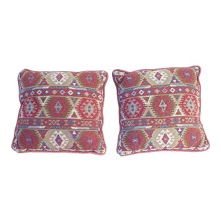 Tribal Geometric Design Tapestry Pillows - a Pair For Sale