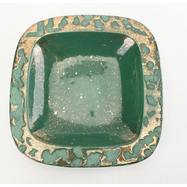 Metal Green Vintage Westwood Ware Dish or Ashtray With 24 Kt Metallic Gold For Sale - Image 7 of 7