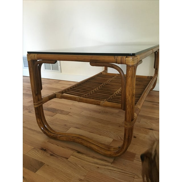 Vintage Franco Albini Style Bamboo Glass Top Table - Image 6 of 7