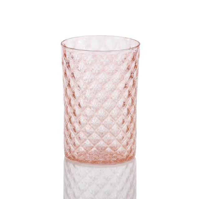 Tickle your party guests pink with this pretty bundle of handmade glassware in summery shades of pink and coral. The Pink...
