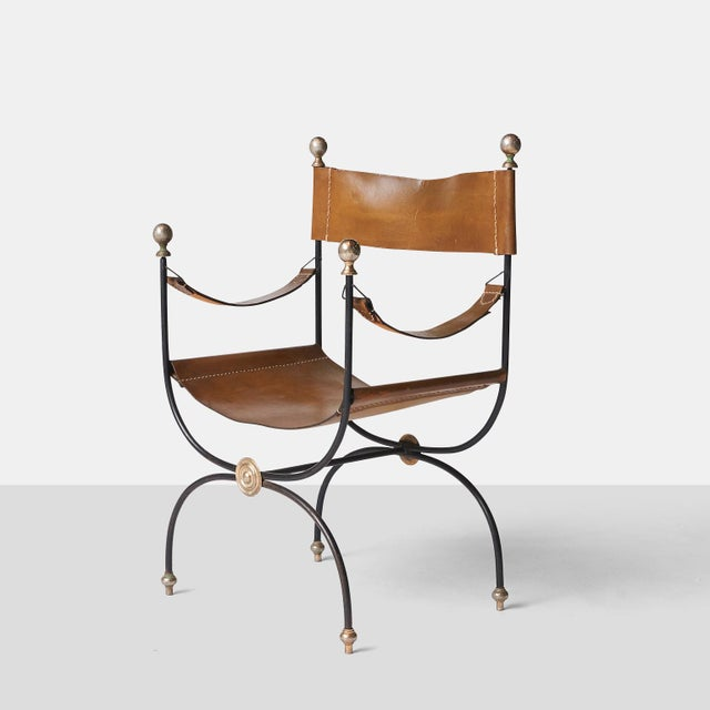 French Jacques Adnet safari chair and ottoman set - 2 pieces For Sale - Image 3 of 8