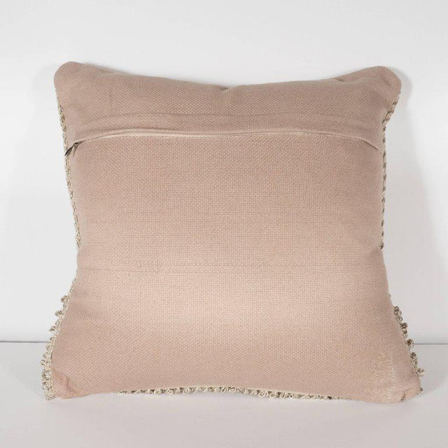 Textile Pair of Textural Modernist Pillows in Taupe with Metallic Silver Thread For Sale - Image 7 of 9